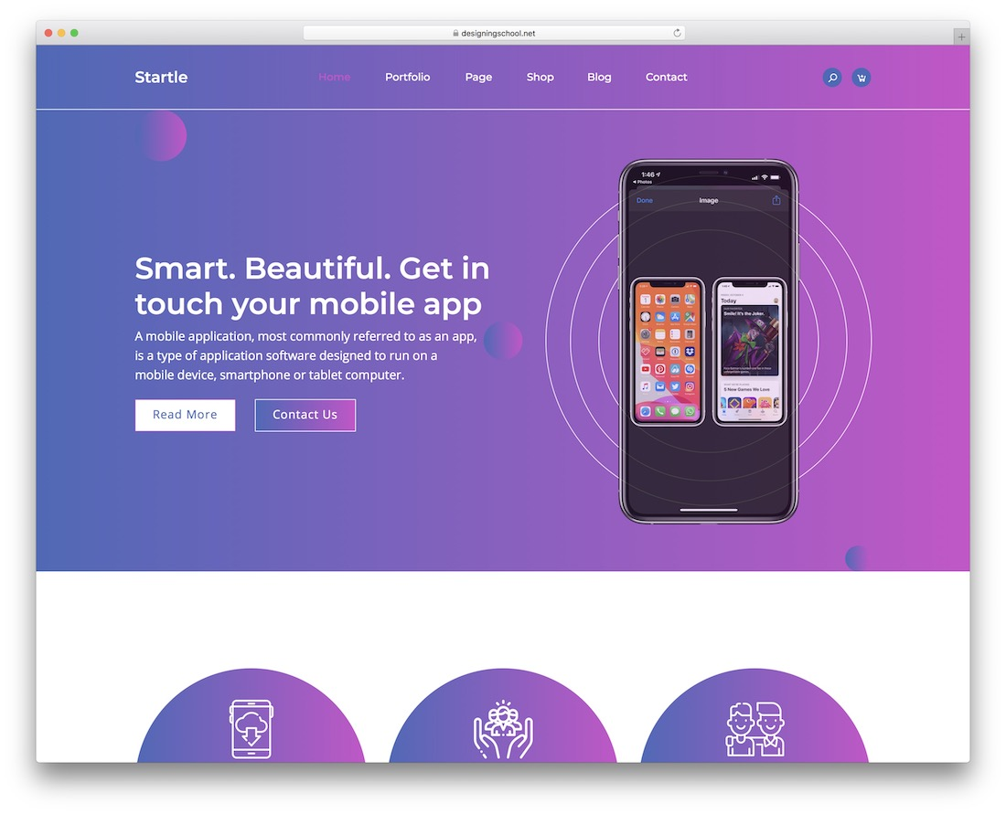 startle adobe muse landing page template