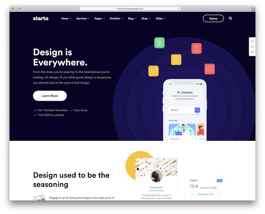 starto startup wordpress theme