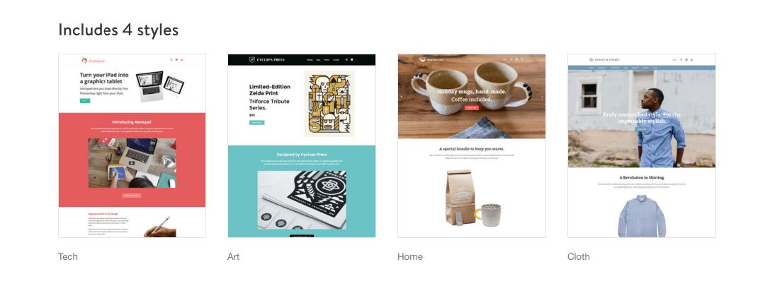 startup - 4 styles