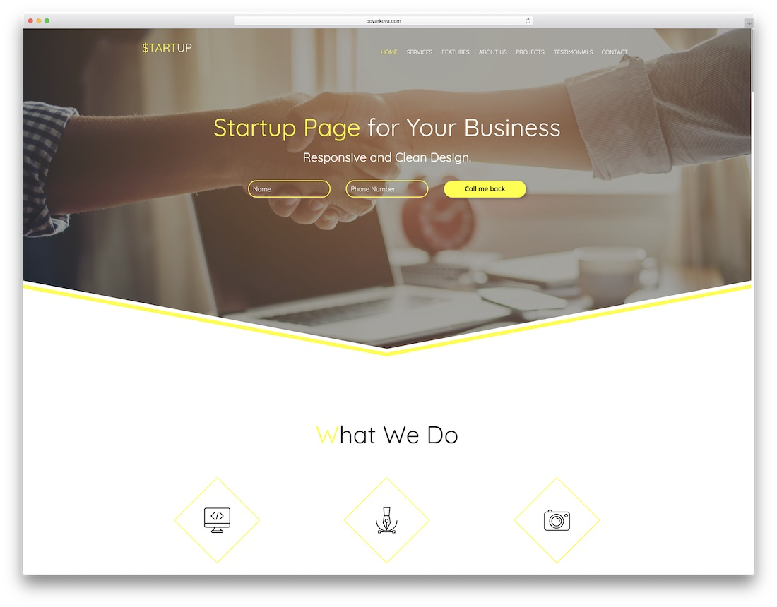 startup adobe muse template