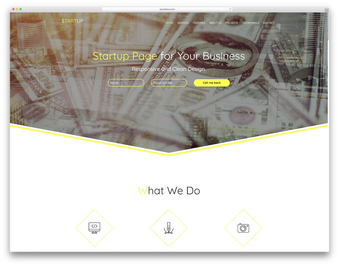 startup clean adobe muse template