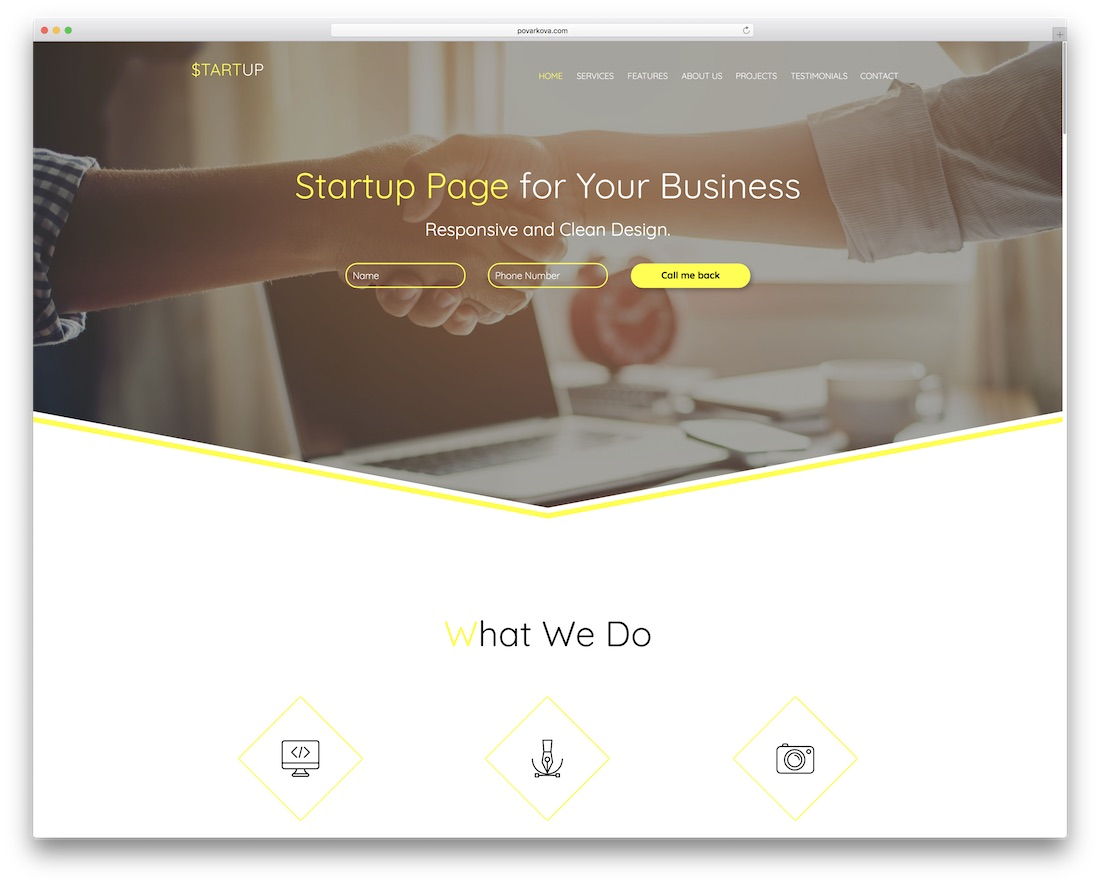 startup responsive adobe muse template