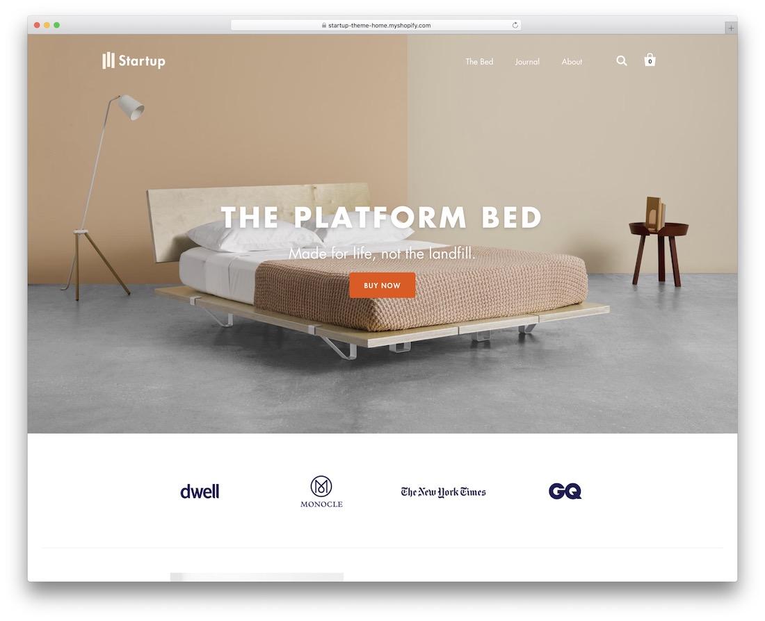 startup shopify landing page theme