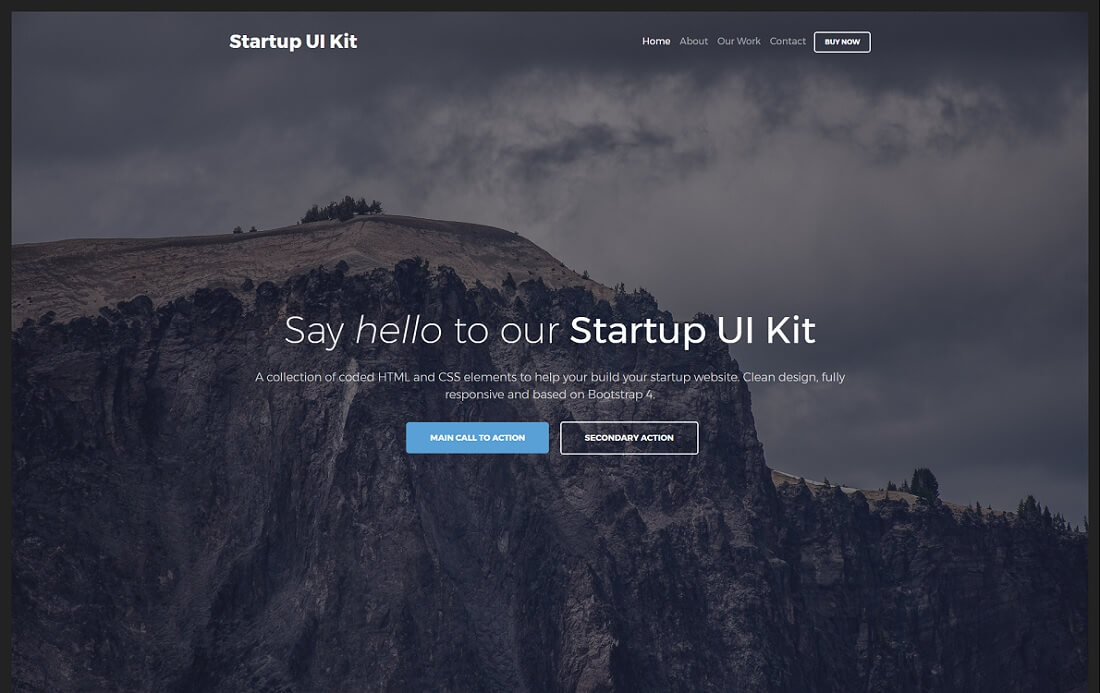 startup ui kit free bootstrap 4 website template