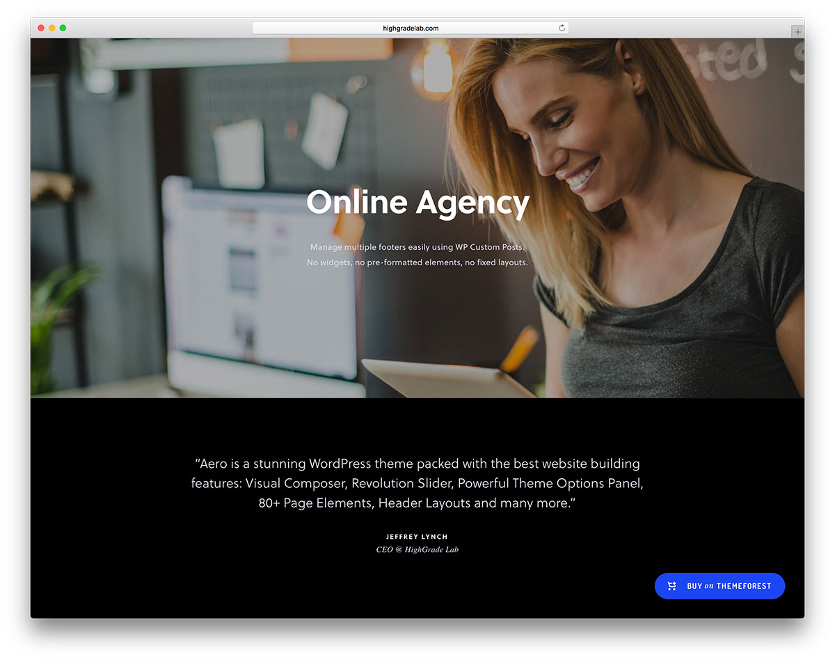 stash dark online agency website template - Top 20 WordPress Themes for Freelancers, Programmers, Graphics Designers and More 2018