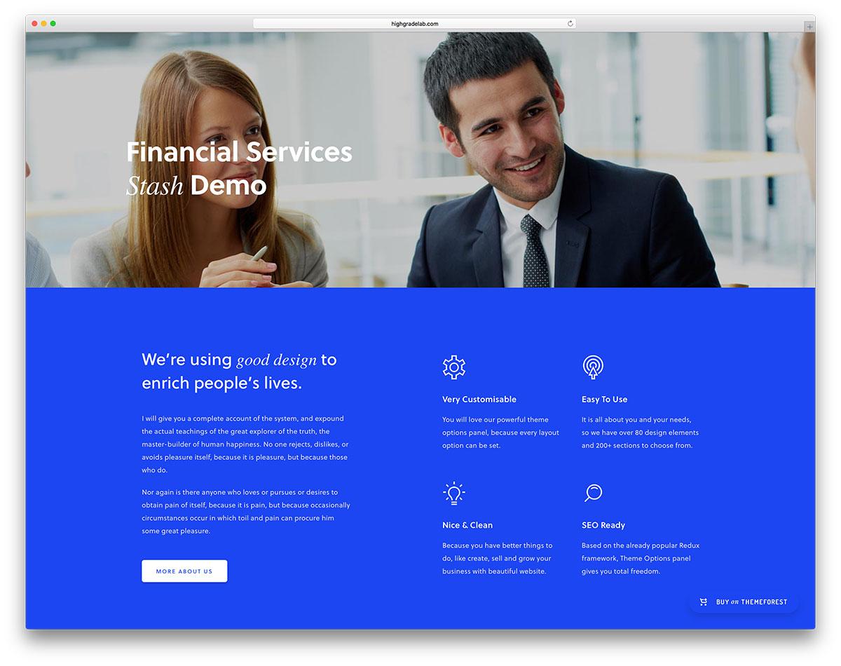 stash financial services landing page template - Top 27 WordPress Insurance Company Themes 2020 - Colorlib