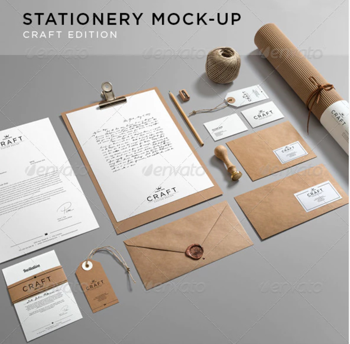 Stationery Branding PSD Mockup Craft Edition