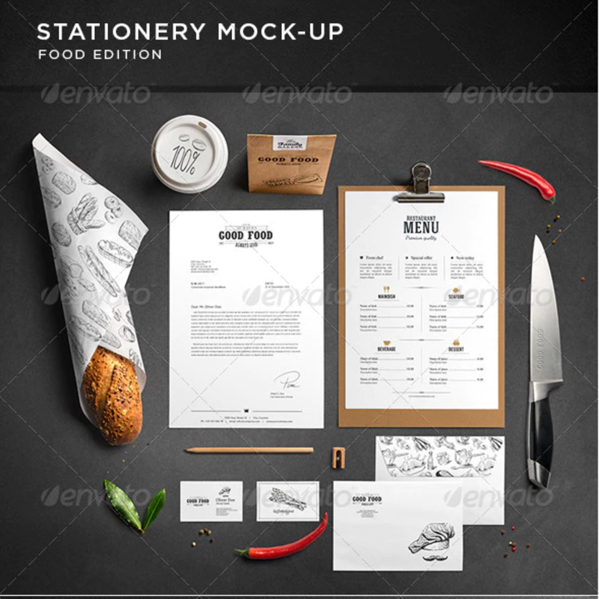 Stationery Branding Mockup Food Edition