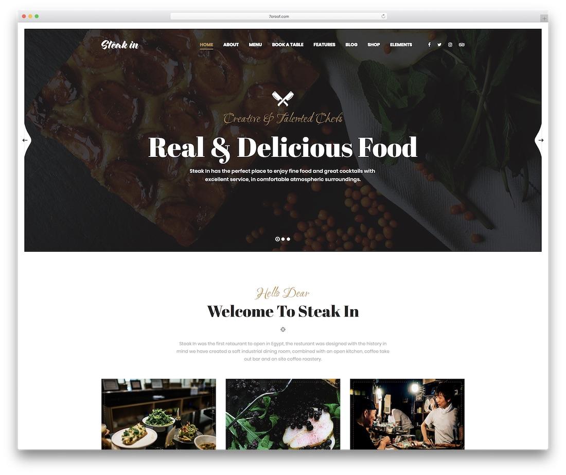 steak in food website template