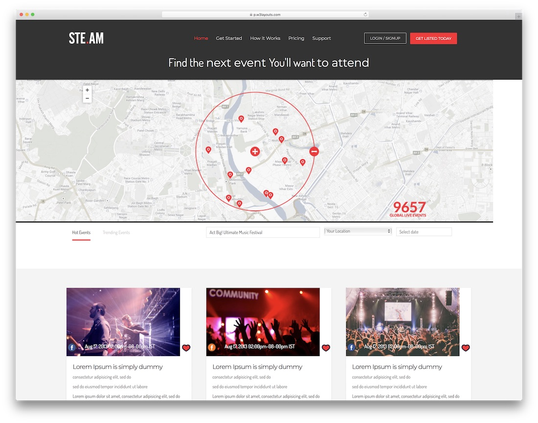 steam flat free event website template