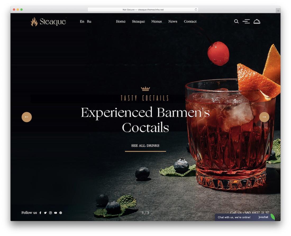 steaque wordpress theme for pubs