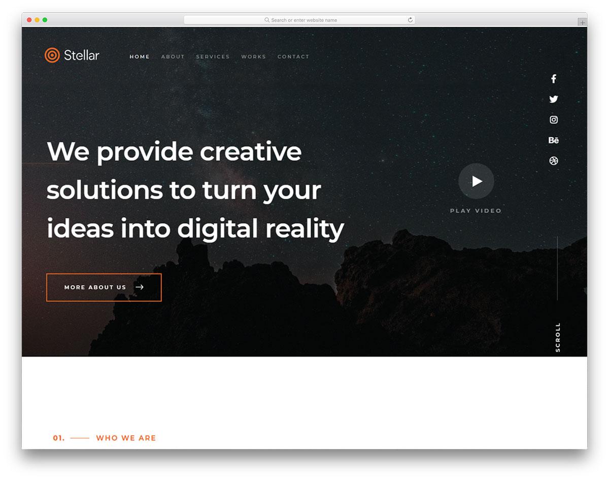 Скачать бесплатно html шаблон Stellar