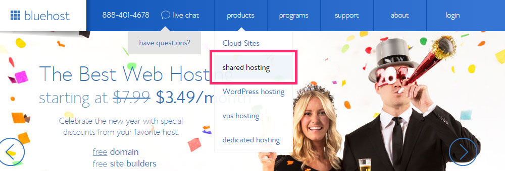Bluehost's products menu.