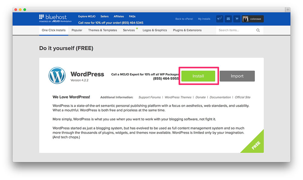 Green install button to complete WordPress installation.