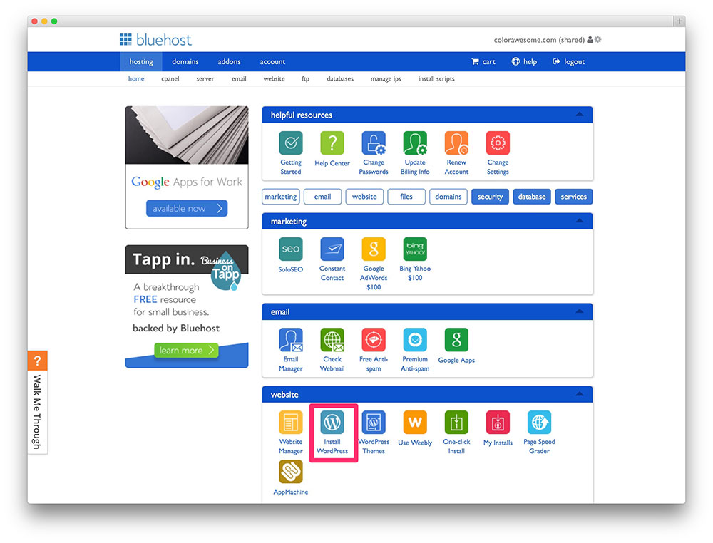 Bluehost's cPanel.