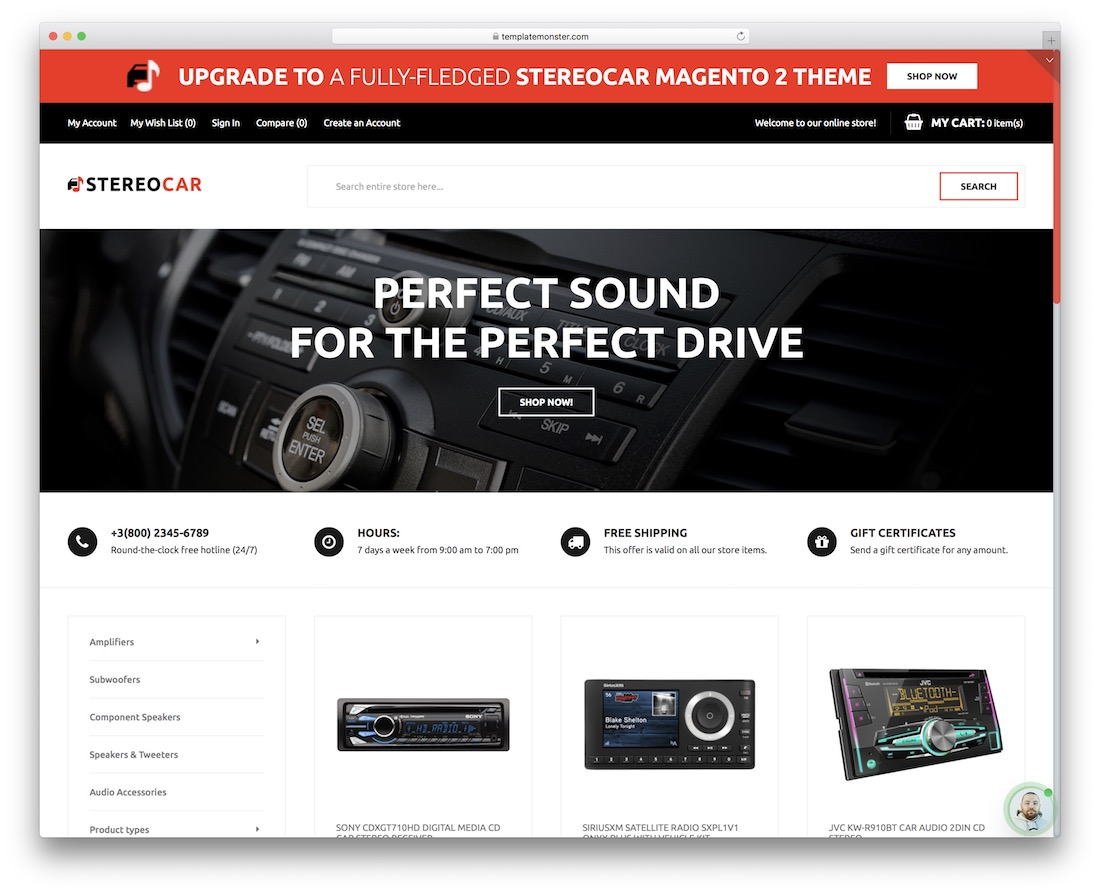 stereocar free magento template