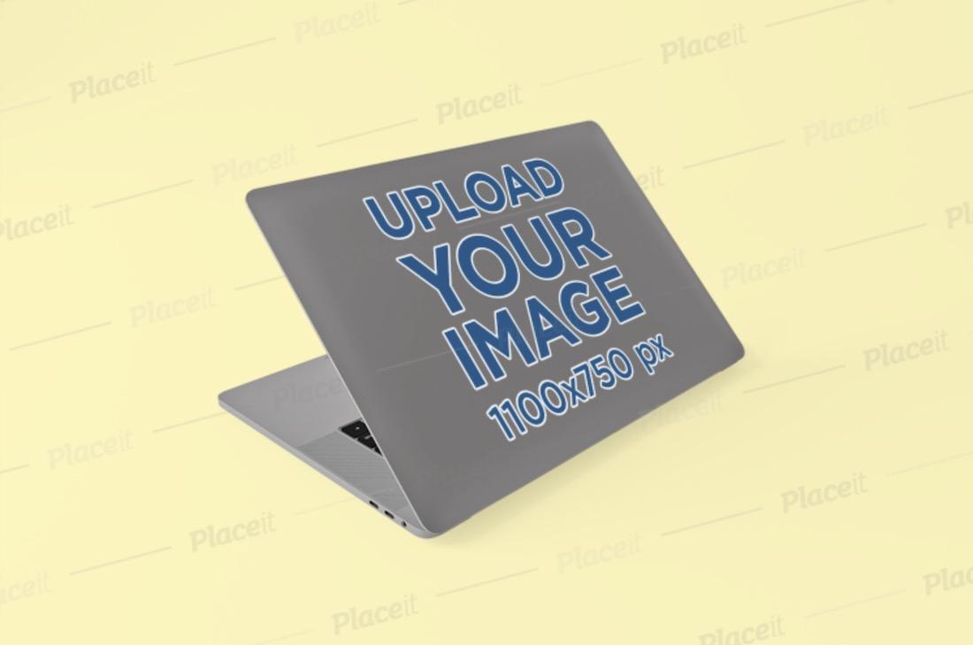 sticker mockup of a macbook pro
