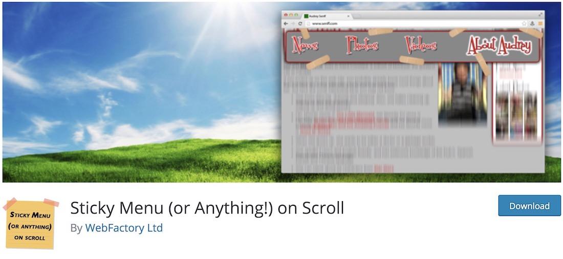sticky menu or anything non scroll wordpress plugin