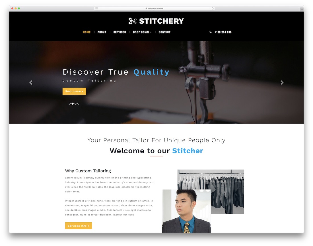 stitchery free fashion website template