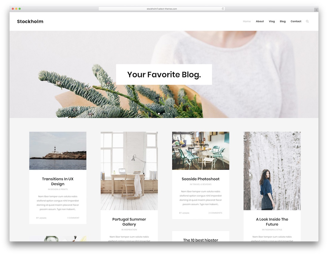 stockholm personal blog wordpress theme