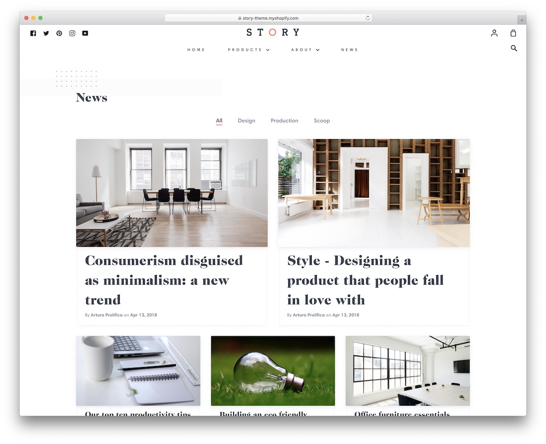 story shopify blog theme