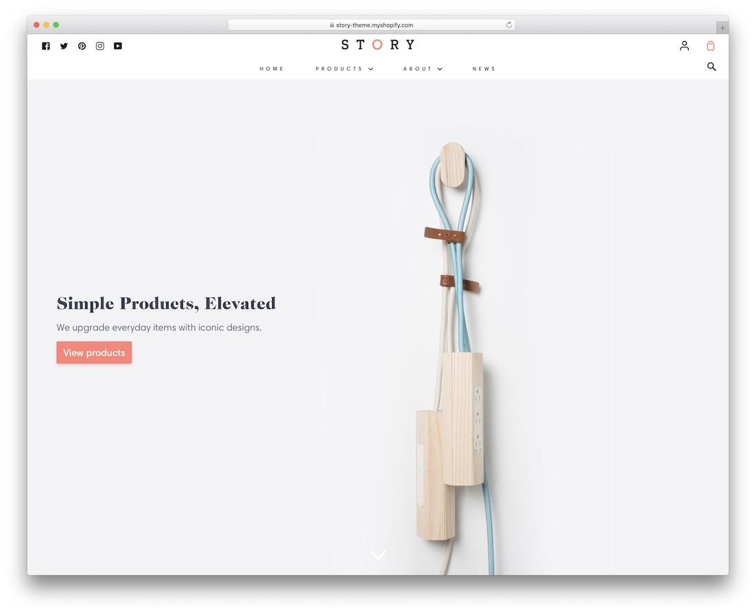 story single product shopify theme