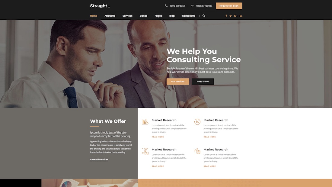 straight consulting website template