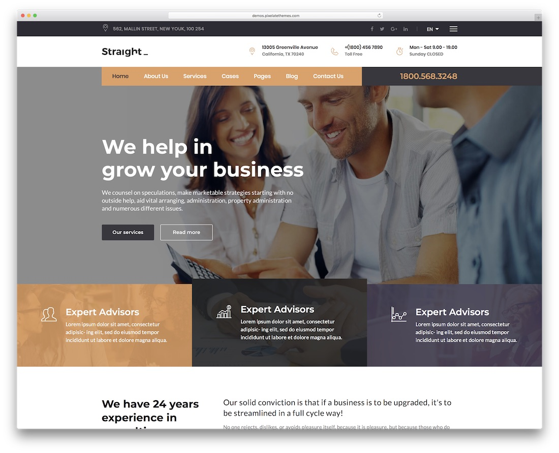 straight financial website template