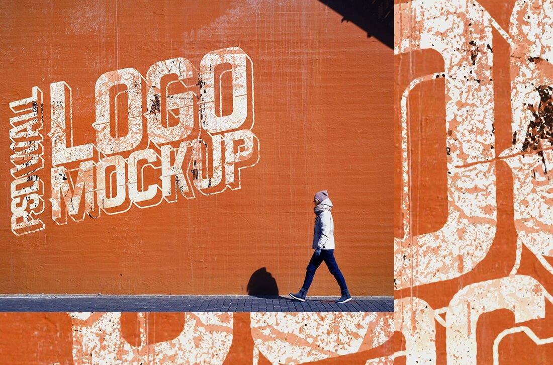 street wall logo mockup psd