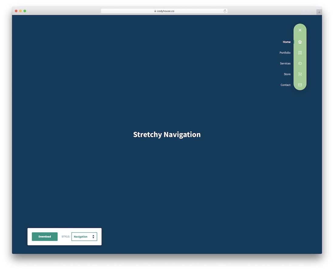 stretchy navigation