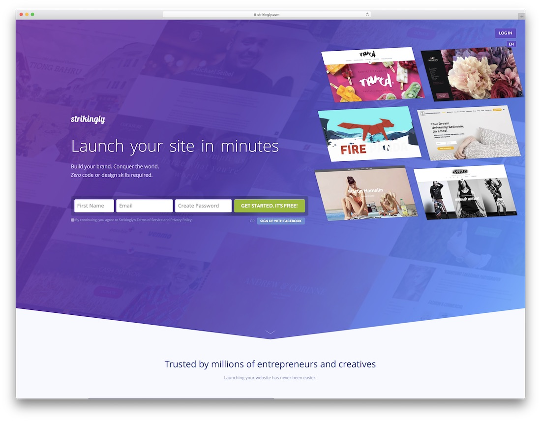 strikingly best one page website builder