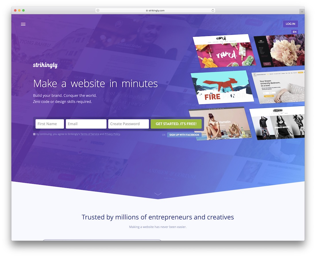 strikingly free one page website builder