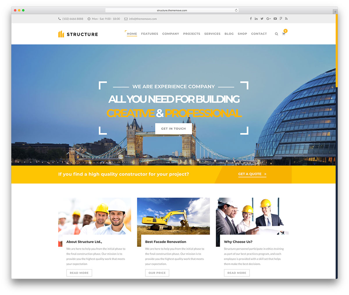 45 best construction company wordpress themes 2018 colorlib for Homepage shop