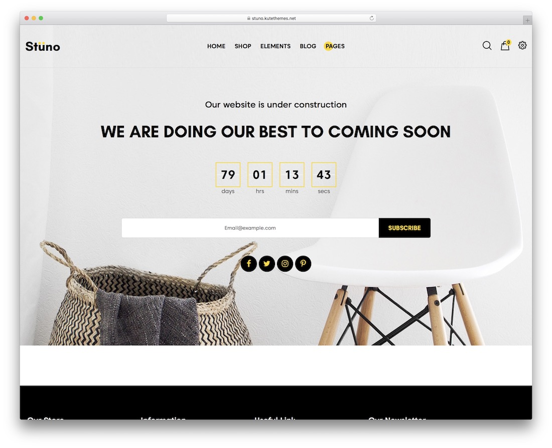 stuno coming soon wordpress theme