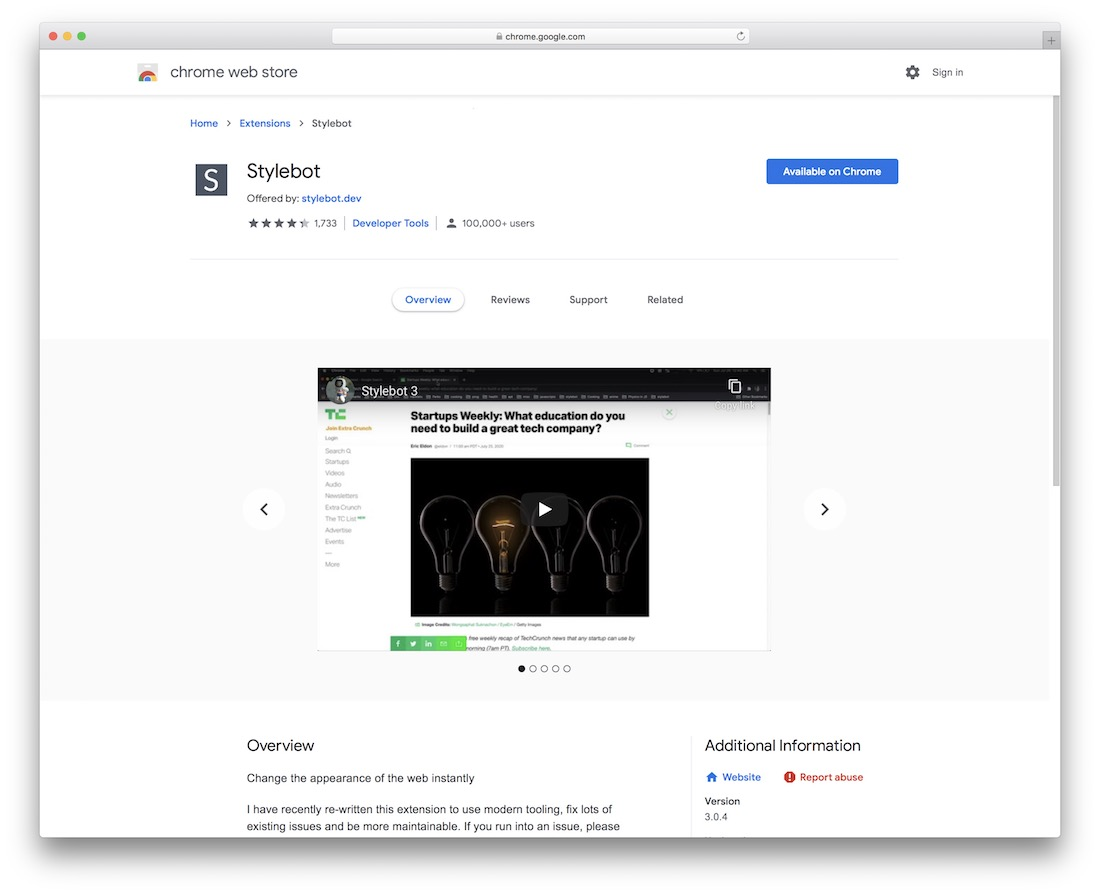 stylebot chrome extension