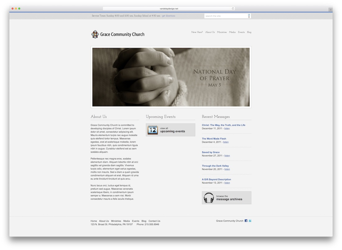 stylish church website template
