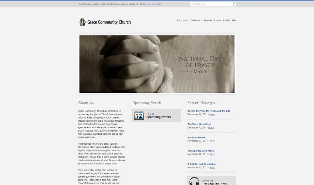 stylish free church website template