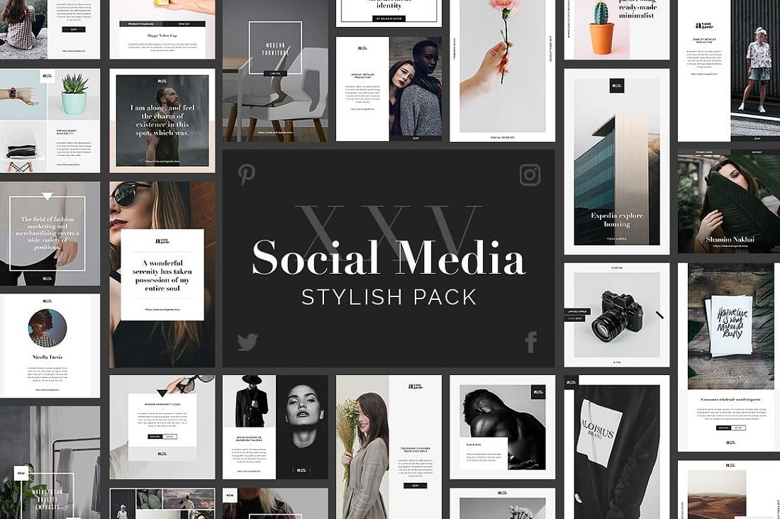 stylish social media banner pack