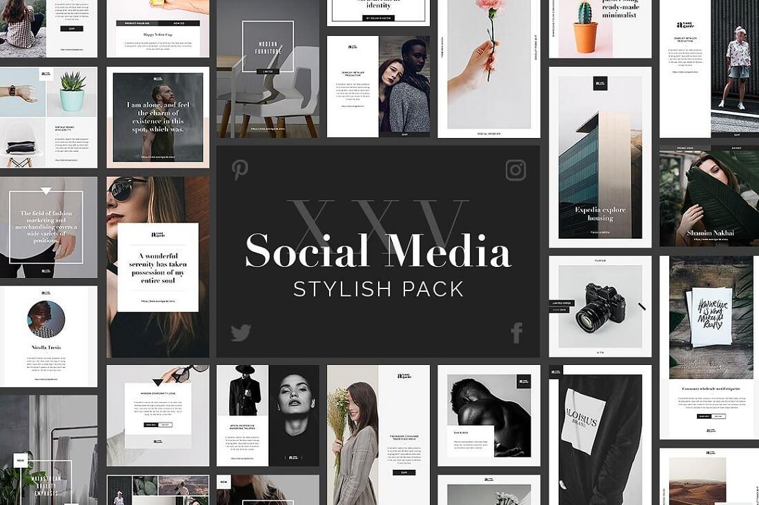 stylish social media banner pack
