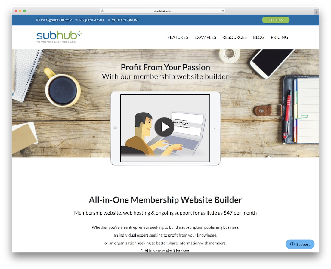 subhub membership website builder