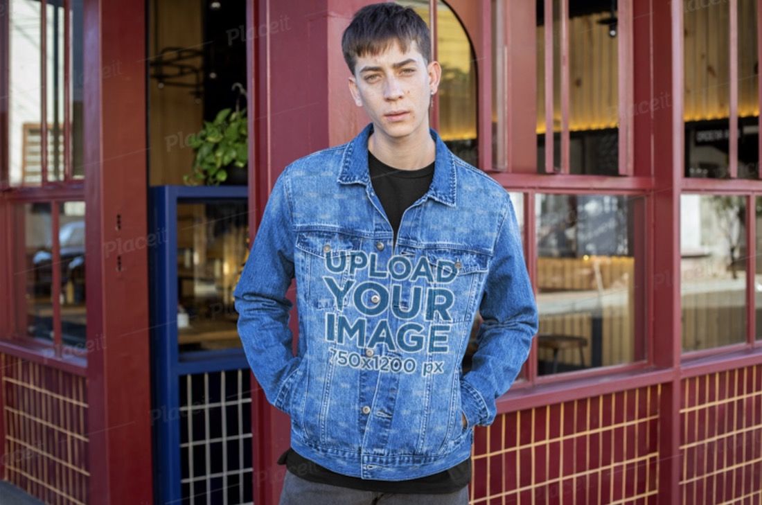 sublimated denim jacket mockup featuring a man by a restaurant