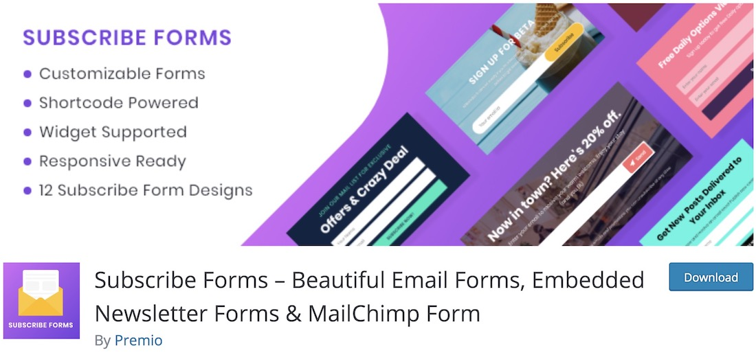 subscribe forms free wordpress mailchimp plugin