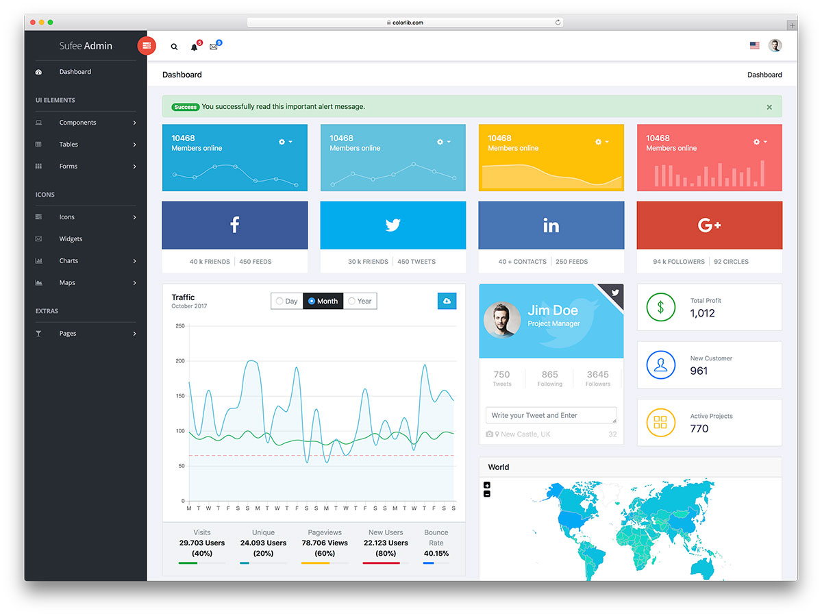 30 best free dashboard templates for amazing admins 2018 for Simple html admin template