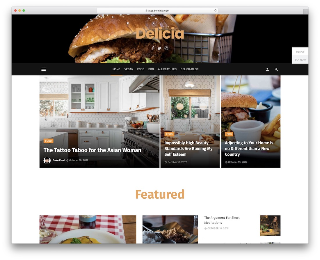 suga wordpress food blog theme