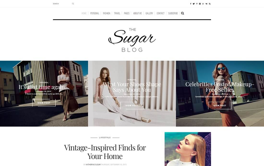 sugarblog wordpress instagram theme