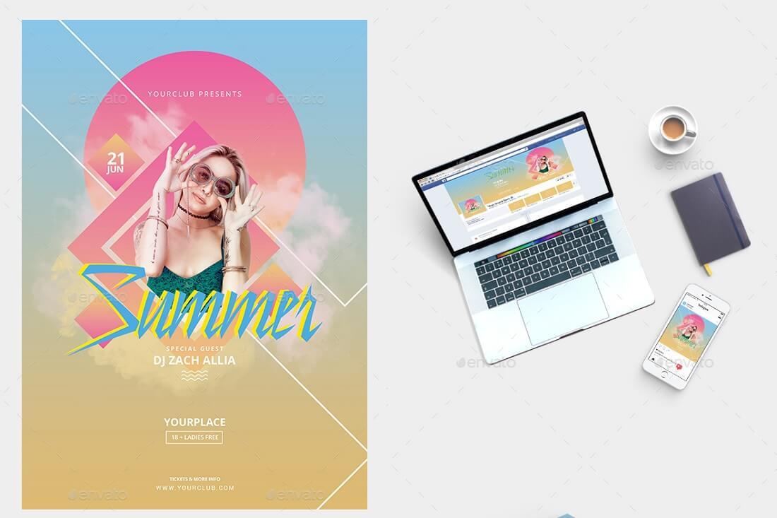 summer flyer social media banner