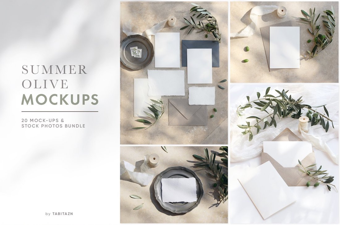 summer olive wedding mockups