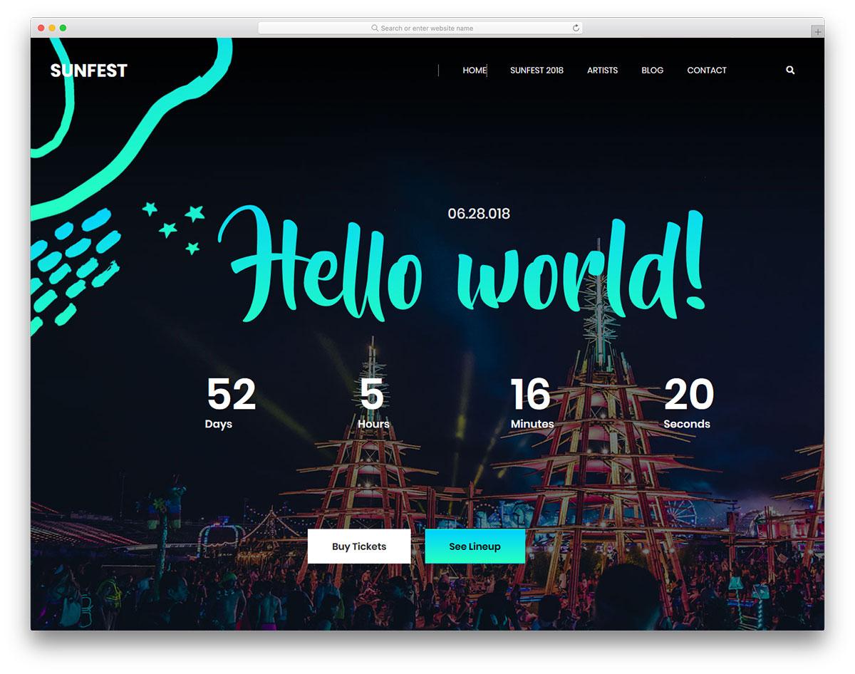 Скачать бесплатно html шаблон Sunfest