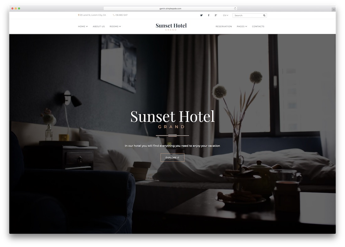 sunset hotel html5 website template
