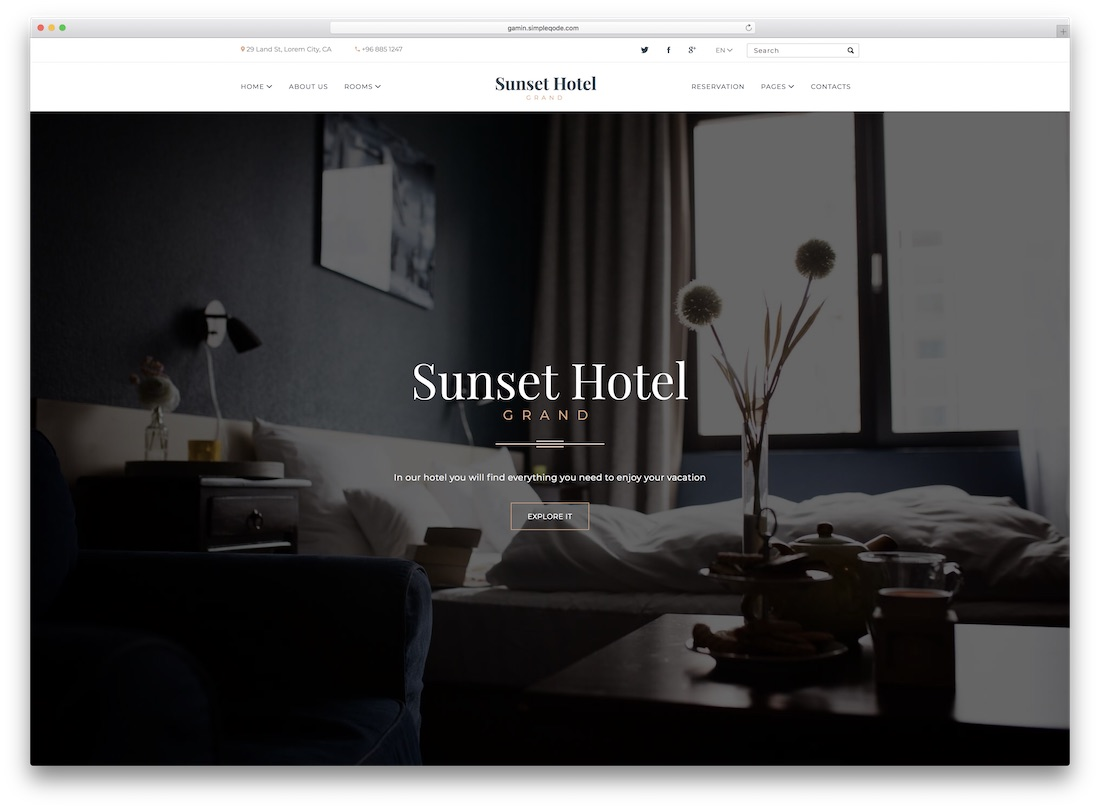 sunset hotel travel website template